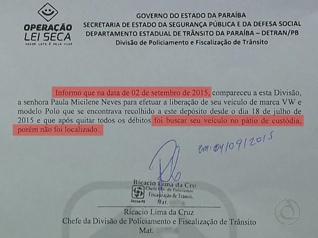 Documento mostra que carro não foi encontrado (Foto: Reprodução/TV Cabo Branco)