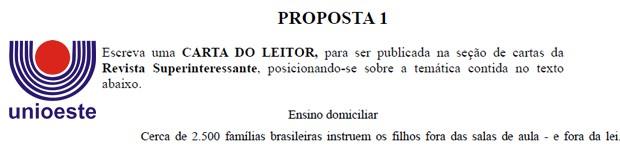 Trecho da prova de redação da Unioeste (Foto: Reprodução)