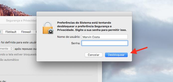 Desbloqueando as configurações de segurança com o login de administrador do Mac (Foto: Reprodução/Marvin Costa)