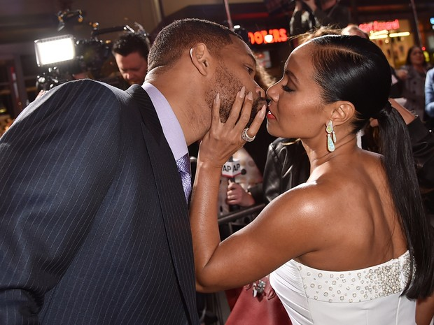 Will Smith e a mulher, Jada Pinkett Smith, em première de filme em Los Angeles, nos Estados Unidos (Foto: Kevin Winter/ Getty Images/ AFP)