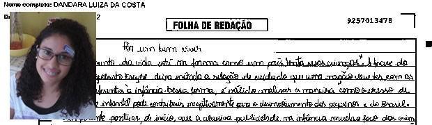 Trecho de redação de Dandara Luíza da Costa. (Foto: Reprodução/Divulgação)