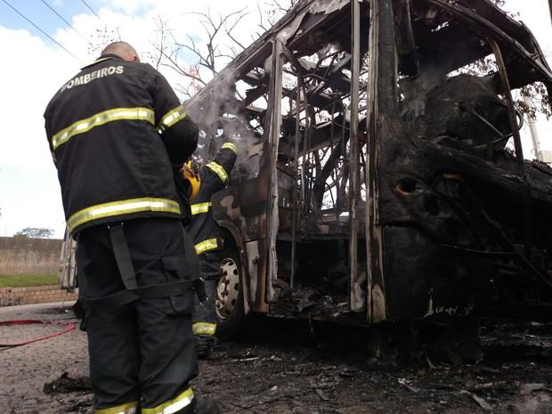 Bombeiros combateram o fogo em dois ônibus e uma lotação (Foto: Anderson Favila/RBS TV)