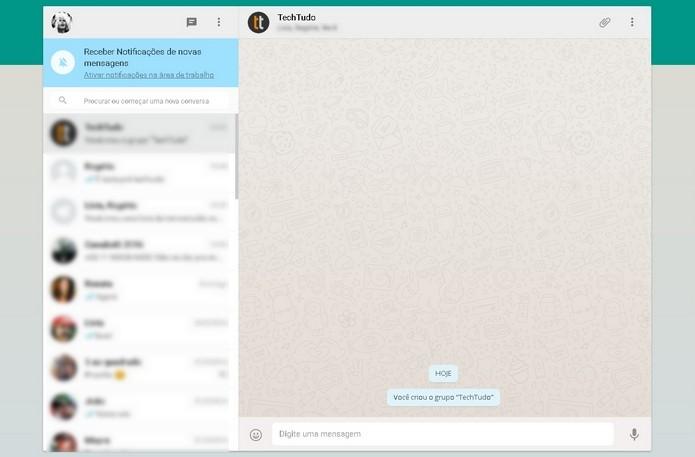 WhatsApp aberto em navegador desktop (Foto: Reprodução/Raquel Freire)