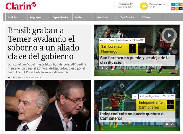 Site do Clarín: JBS e Michel Temer em destaque (Foto: Reprodução/Clarín)