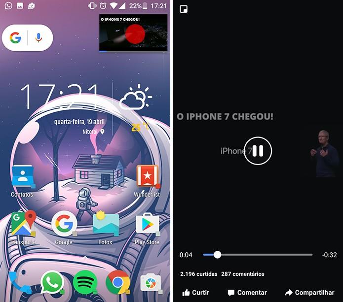 Usuário pode voltar a vídeo em tela cheia ao tocar sobre o player PiP do Facebook (Foto: Reprodução/Elson de Souza)