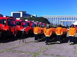 Bombeiros durante entrega de viaturas nesta sexta-feira (28) (Foto: G1)