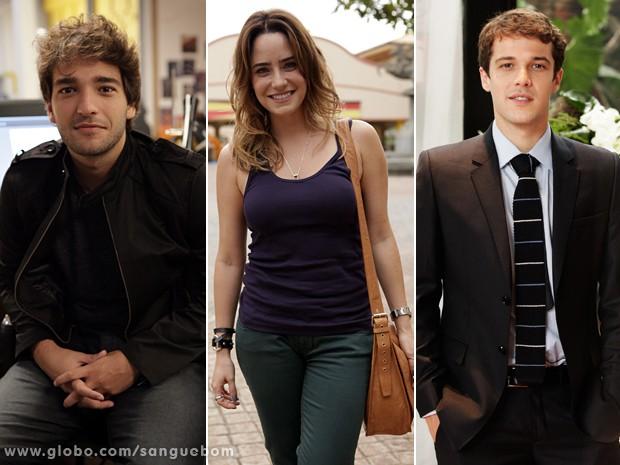 Humberto, Fernanda e Jayme são os outros três jovens atores que encabeçam o elenco da novela (Foto: Sangue Bom/TV Globo)