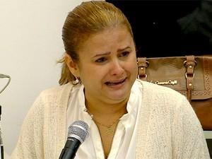 Micarla de Sousa, ex-prefeita de Natal, chora em depoimento da Operação Assepsia (Foto: Reprodução/Inter TV Cabugi)