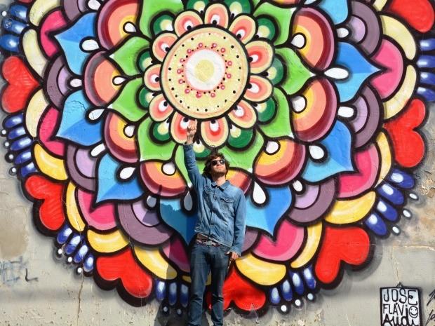 Mandala criada por Audi na Rua Carolina Florence, em Campinas (Foto: Fernando Pacífico / G1 Campinas)