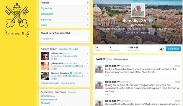 Reprodução da conta @pontifex, do Papa Bento XVI no Twitter, nesta segunda-feira (18) (Foto: Reprodução)