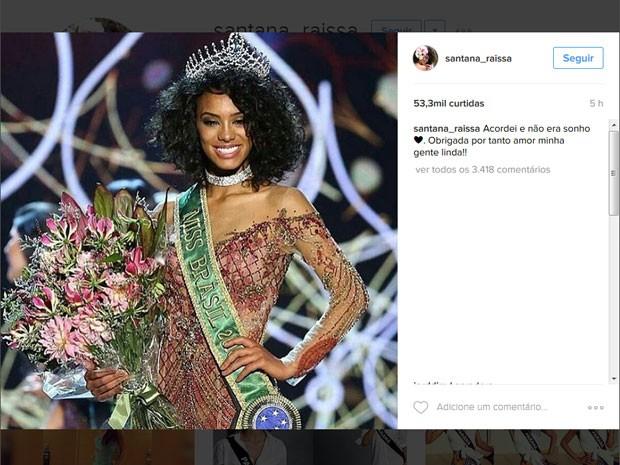 Raissa Santana comemorou a vitória no Instagram (Foto: Reprodução/Instagram/Raissa Santana)