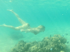 Sereia?! Fiorella Mattheis mergulha no Havaí