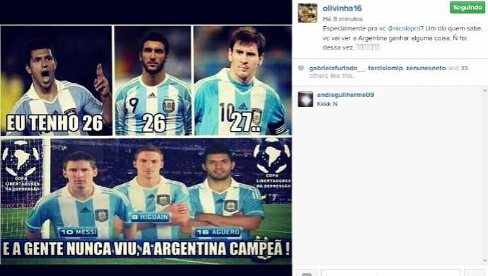 olivinha provoca laprovittola por derrota da argentina na copa (Foto: Reprodução/Instagram)