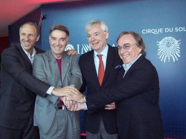 Alan Adler, CEO da IMX, Eike Batista, Mike Dolan, presidente e CEO da IMG, e Daniel Lamarre, presidente e CEO do Cirque de Soleil (Foto: Lilian Quaino/G1)