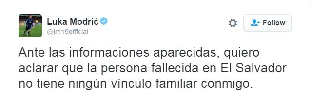 BLOG: Modric nega que mulher assassinada em El Salvador seja de sua família