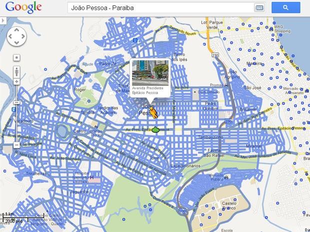 João Pessoa teve os principais bairros incluídos no sistema, menos sua orla (Foto: Reprodução/Google Street View)