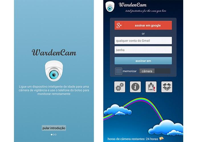 WardenCam tem um login simples para acesso pelo Android e iOS (Foto: Reprodução/Barbara Mannara)
