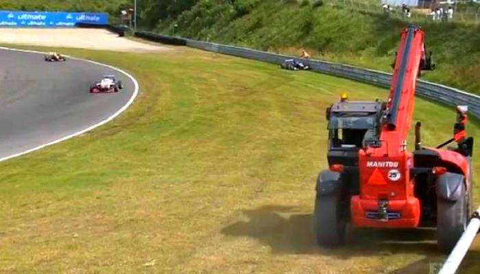 Grua na pista na F3 Europeia