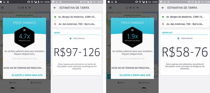 Preço dinâmico pode tornar Uber Black (à direita) mais vantajoso que o econômico UberX (à esquerda) (Foto: Reprodução/Elson de Souza)