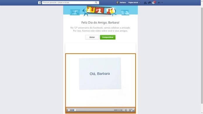 Assista o vídeo gerado automaticamente pelo Facebook (Foto: Reprodução/Barbara Mannara)