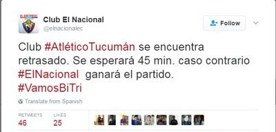 Twitter El Nacional Atlético Tucumán (Foto: Reprodução/Twitter)