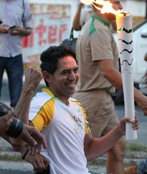 Luiz Carlos, revezamento da tocha olímpica no Piauí (Foto: Renan Morais)