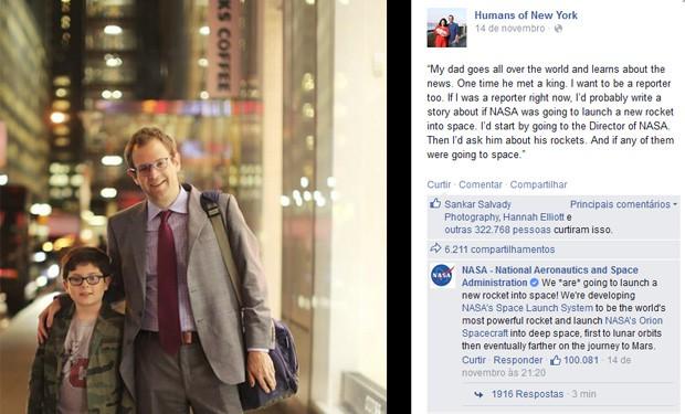 Post do projeto 'Humans of New York' recebeu comentário da Nasa: agência respondeu dúvida de garoto (Foto: Reprodução/Facebook/Humans of New York)