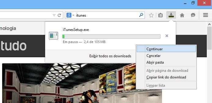 Retome o download no Firefox (Foto: Reprodução/Helito Bijora)