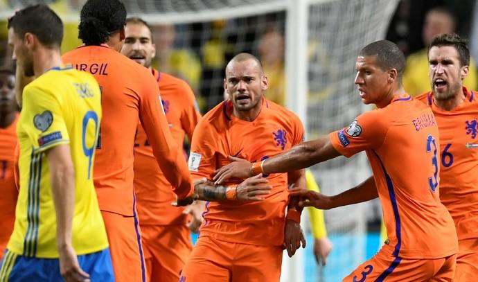 Sneijder comemora gol da Holanda contra a Suécia (Foto: Reuters)