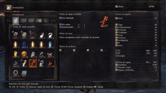 Dark Souls 3: Pedra de sinal vermelho é utilizado para o PvP (Foto: Reprodução/Victor Teixeira)