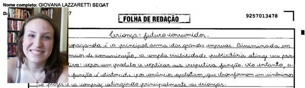 Trecho de redação de Giovana Lazzaretti Segati, Rio Grande do Sul. (Foto: Reprodução/Divulgação)