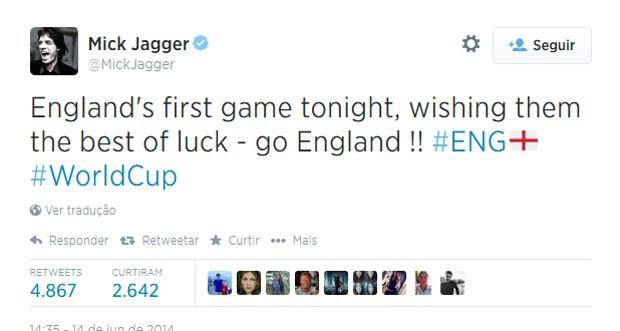 Mick Jagger desejou boa sorte aos ingleses, que perderam a primeira partida para a Itália (Foto: Reprodução/Twitter)