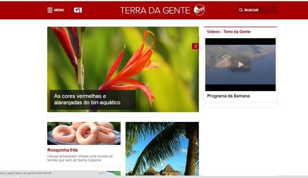Nova página reúne vídeos do programa, bastidores e catálogo de fauna e flora (Foto: Reprodução/g1)