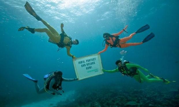 Protesto realizado por membros da ONG Greenpeace pede proteção aos oceanos imediatamente (Foto: Divulgação/Greenpeace/AFP)