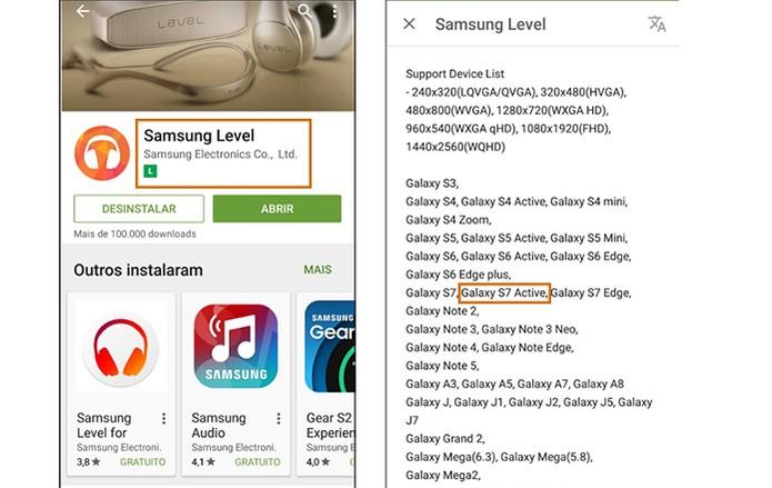 Galaxy S7 Active aparece listado em app oficial da Samsung Level (Foto: Reprodução/Barbara Mannara)