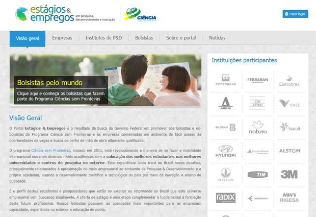 Portal do Ciência sem Fronteira vai oferecer vagas de estágio e emprego a ex-bolsistas (Foto: Reprodução)