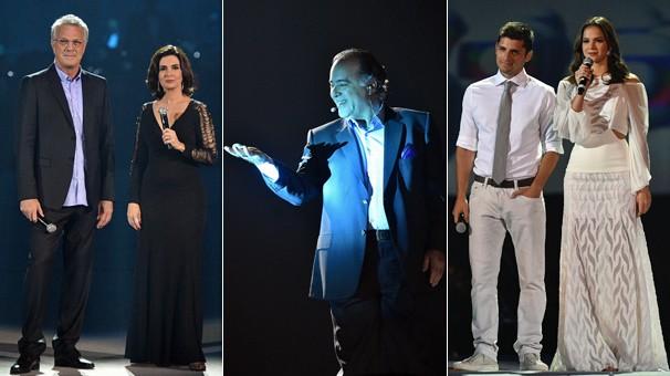 Pedro Bial e Fátima Bernardes, Tony Ramos, e Bruno Gissoni e Bruna Marquezine e momentos do espetáculo (Foto: Globo)