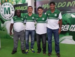 Wallace Lemos e comissão técnica do Mamoré, Mineiro 2016 (Foto: Paulo Barbosa)