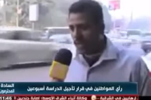 Egípcio fez 'melhor saída de entrevista' de todos os tempos ao subir em ônibus em movimento (Foto: Reprodução/YouTube/Arabic Tv)