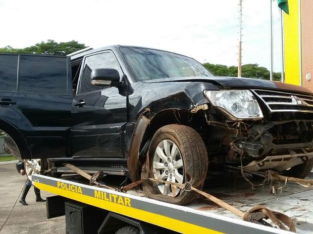 Carro usado pelo adolescente, apreendido pela polícia (Foto: Polícia Militar/Divulgação)