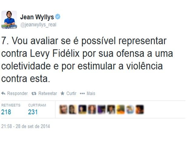 O deputado Jean Wyllys (PSOL-RJ) se manifesta contra declaração de Fidelix (Foto: Reprodução)