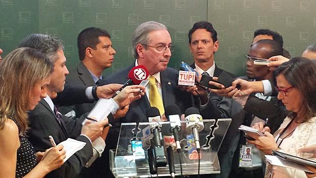 O presidente da Câmara, Eduardo Cunha, anunciou o reajuste e a ampliação dos benefícios dos deputados federais (Foto: Fernanda Calgaro / G1)