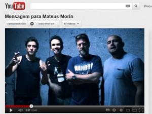 Integrantes do Raimundos gravam mensagem para um fã que sofreu acidente de trabalho (Foto: Reprodução/YouTube)