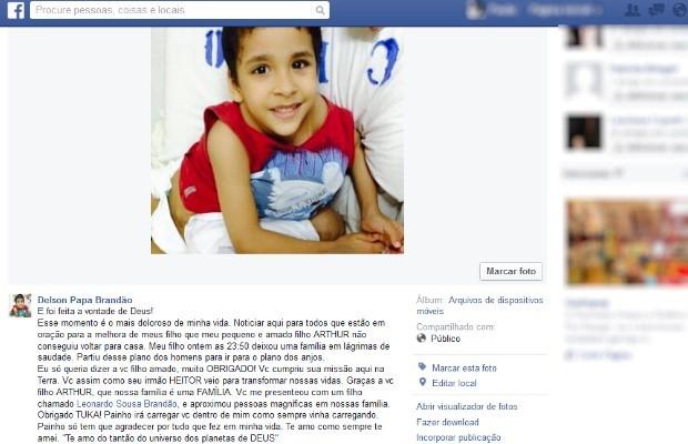 Pai faz homenagem a Arthur nas redes sociais (Foto: Reprodução/ Facebook)
