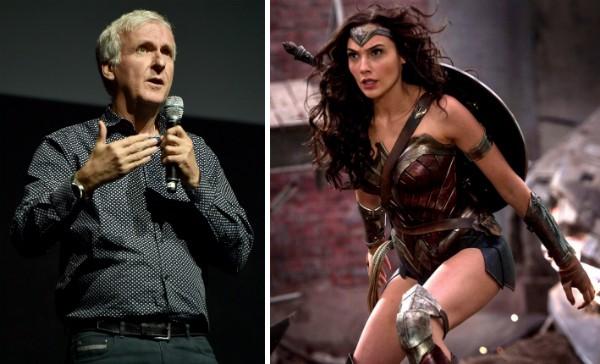O cineasta James Cameron e Gal Gadot como a Mulher-Maravilha (Foto: Getty Images/Reprodução)