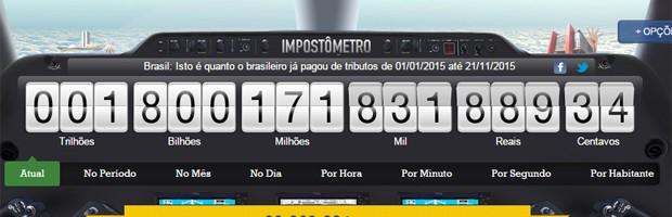 Impostômetro chegou a R$ 1,8 trilhão neste sábado (Foto: Reprodução/Impostômetros)