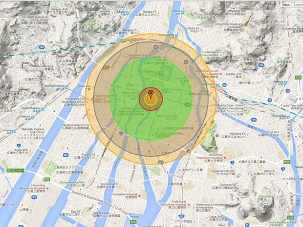 Bomba Litlle Boy matou, de imediato, 80 mil pessoas quando explodiu sobre Hiroshima, em 1945 (Foto: Reprodução/ NukeMap)