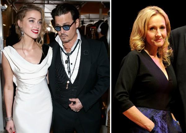 Amber Heard, Johnny Depp e J.K. Rowling (Foto: Getty Images)