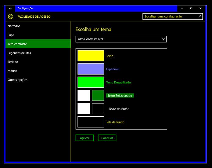 Temas de Alto Contraste modificam visual do sistema (Foto: Reprodução/Thiago Barros)