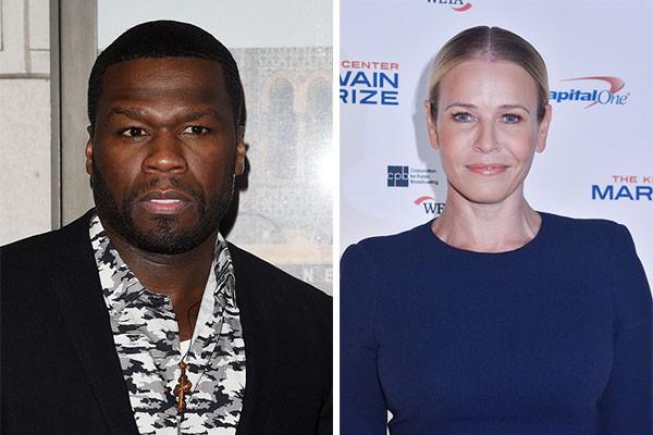 Quando, em 2009, foi anunciado que a comediante Chelsea Handler e o rapper 50 Cent estavam namorando, todos achavam que tudo não passava de uma piada, o que foi desmentido quando ele apareceu como um dos convidados do programa de Chelsea e levou flores pa (Foto: Getty Images)